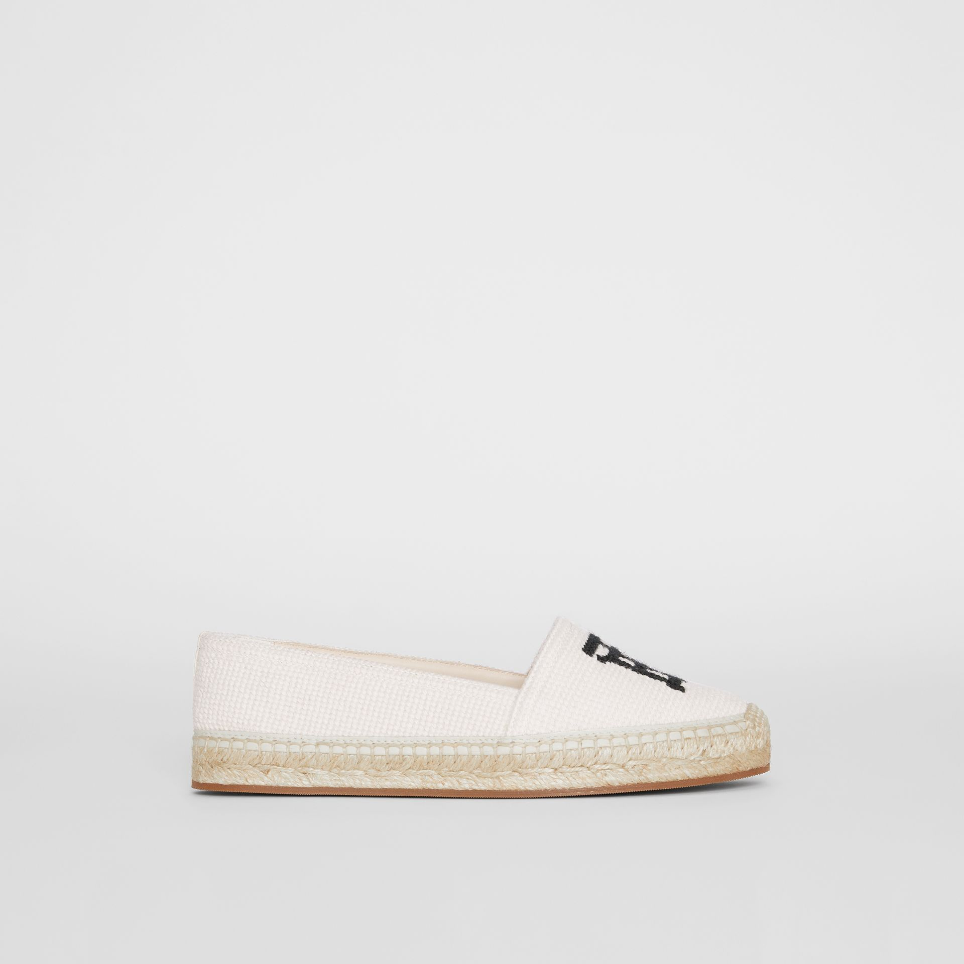 Monogram Motif Cotton and Leather Espadrilles in Ecru/black - Women | Burberry United Kingdom - gallery image 4