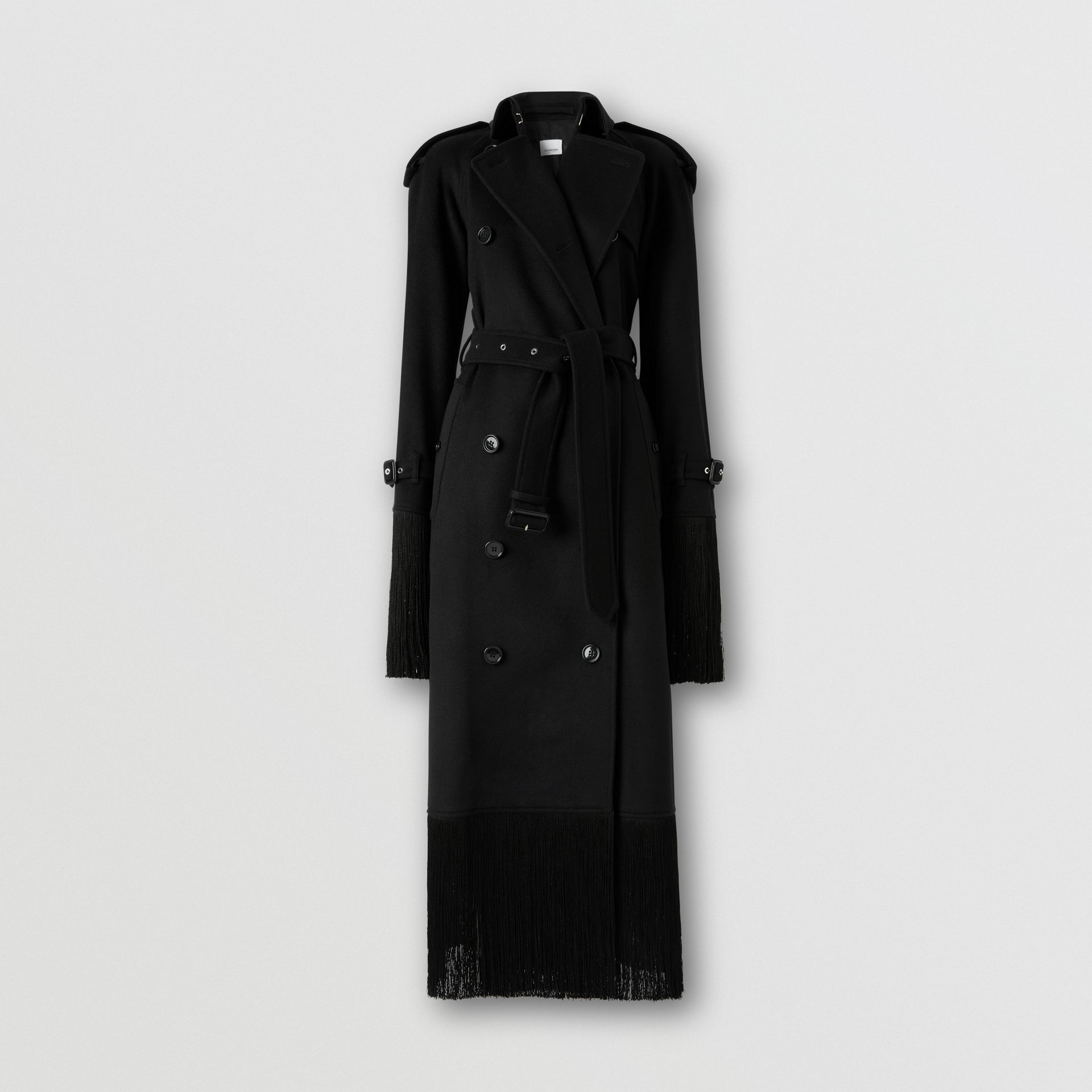 Fringed Wool Cashmere Trench Coat in Black - Women | Burberry - gallery image 3