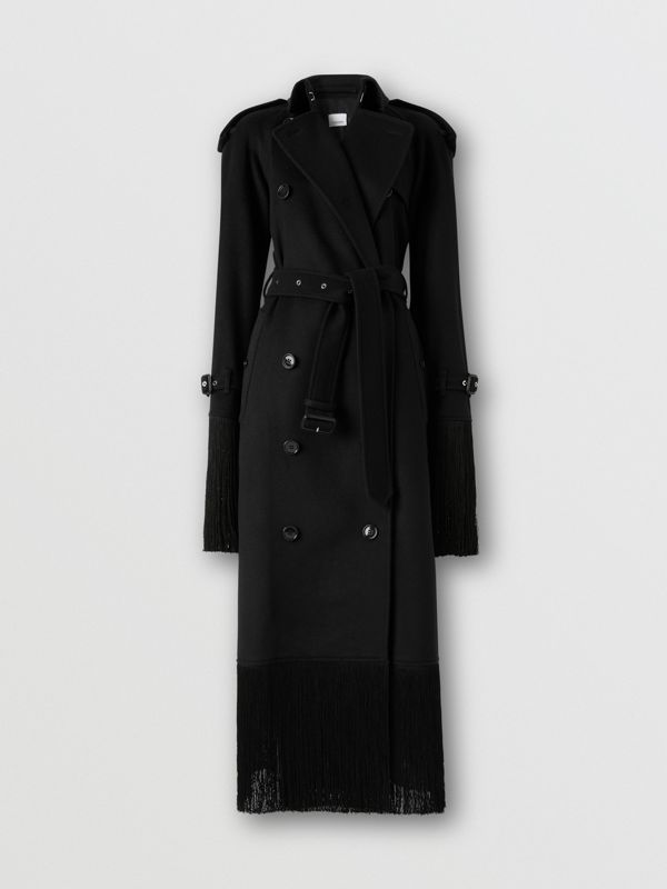 Fringed Wool Cashmere Trench Coat in Black - Women | Burberry Australia - cell image 3