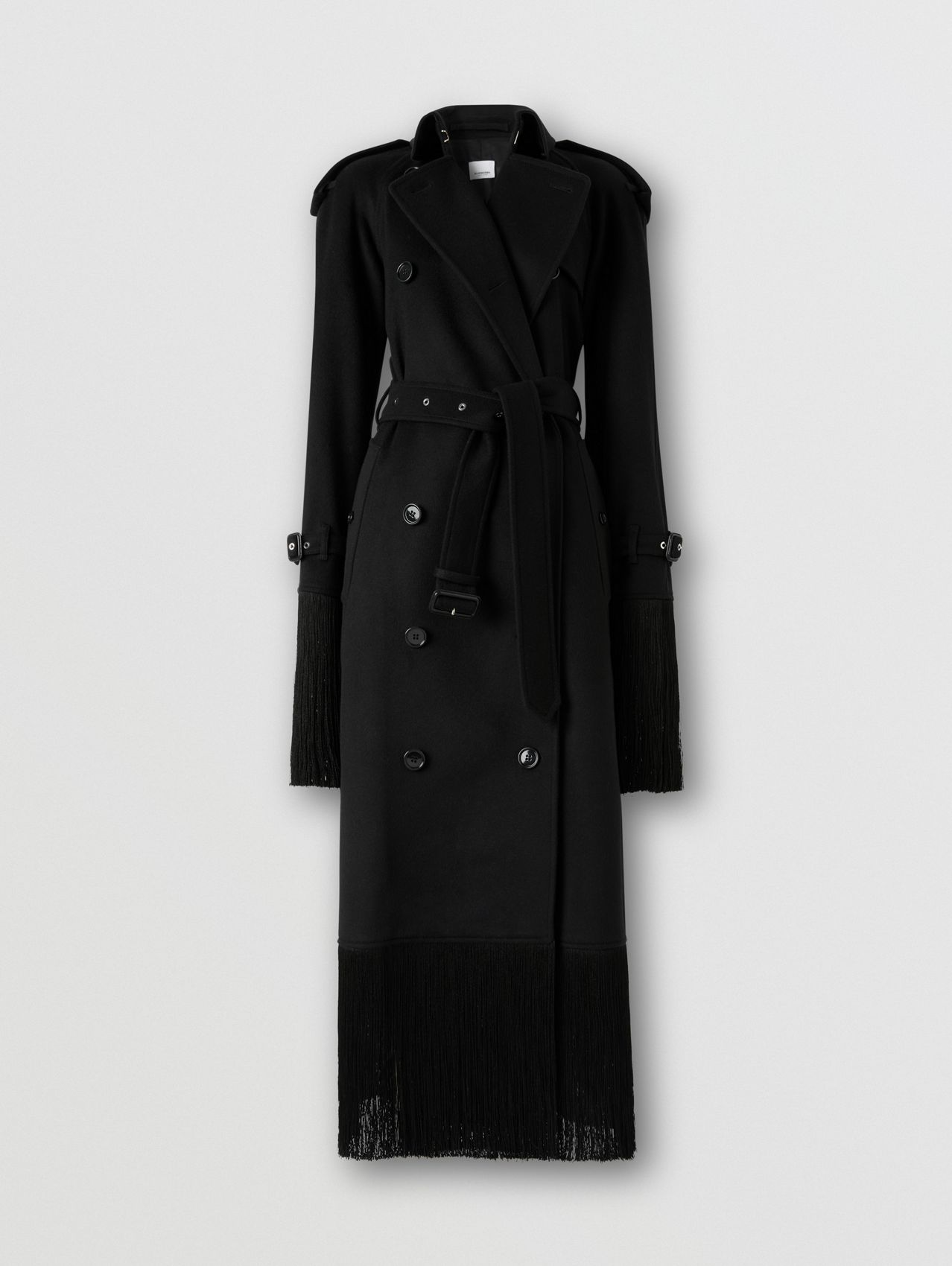 Fringed Wool Cashmere Trench Coat in Black