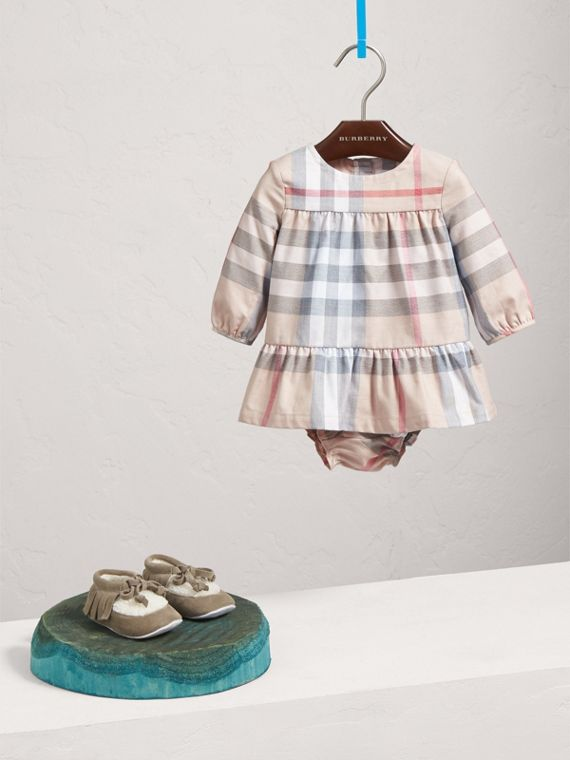 Check Cotton Tiered Dress with Bloomers in Pale Stone