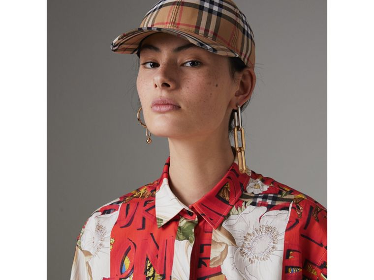 Graffiti Archive Scarf Print Cotton Silk Shirt in Bright Military Red - Women | Burberry - cell image 1
