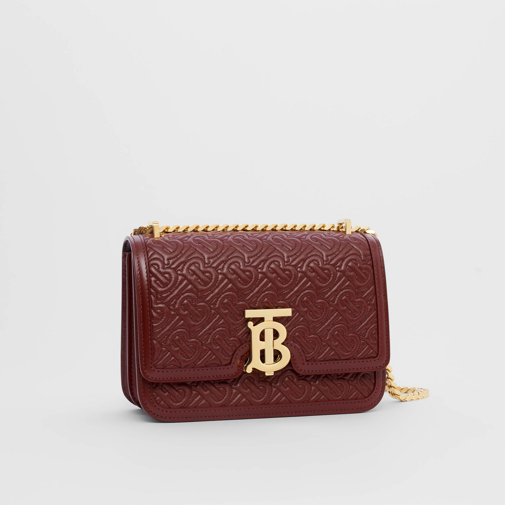 Small Quilted Monogram Lambskin TB Bag in Oxblood - Women | Burberry United Kingdom - gallery image 4