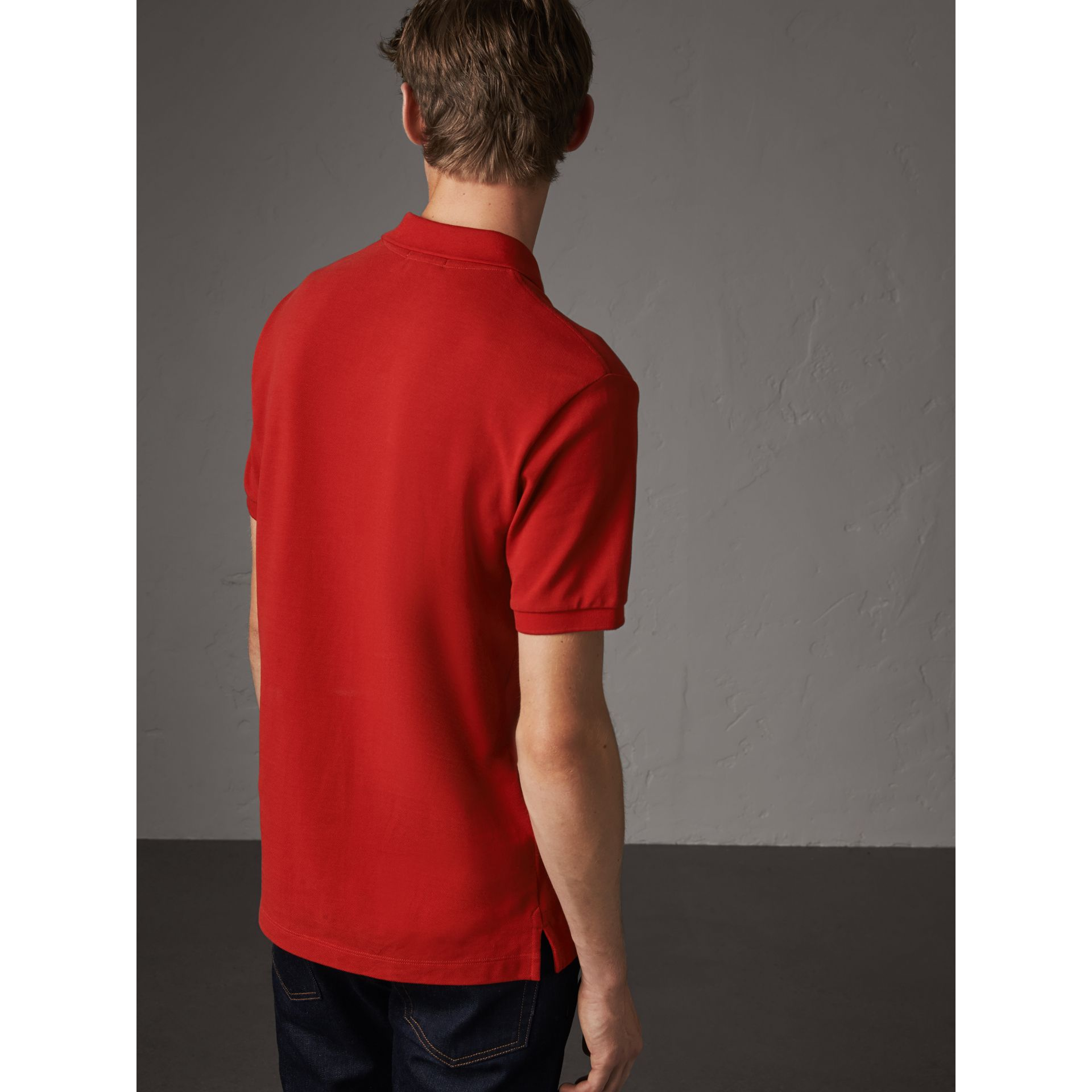 Check Placket Cotton Piqué Polo Shirt in Military Red - Men | Burberry - gallery image 3