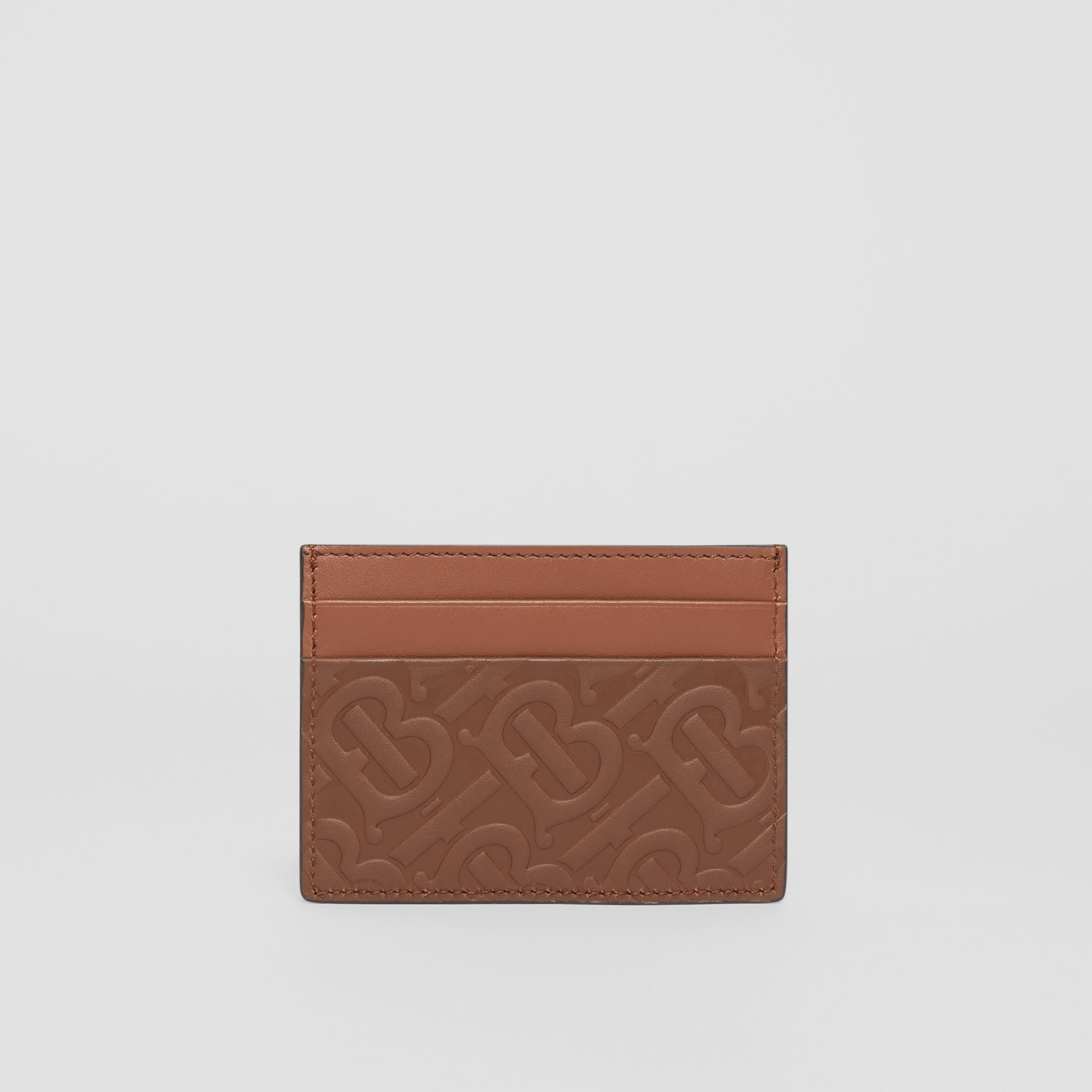 Monogram Leather Card Case in Dark Tan | Burberry - gallery image 4