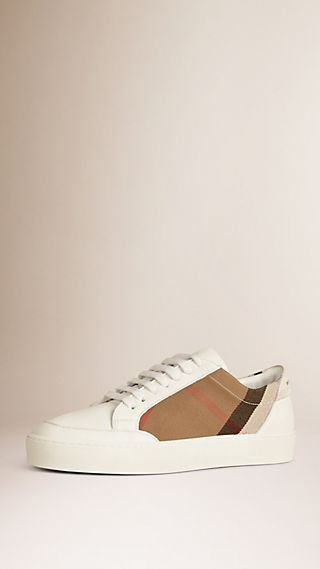Check Detail Leather Sneakers