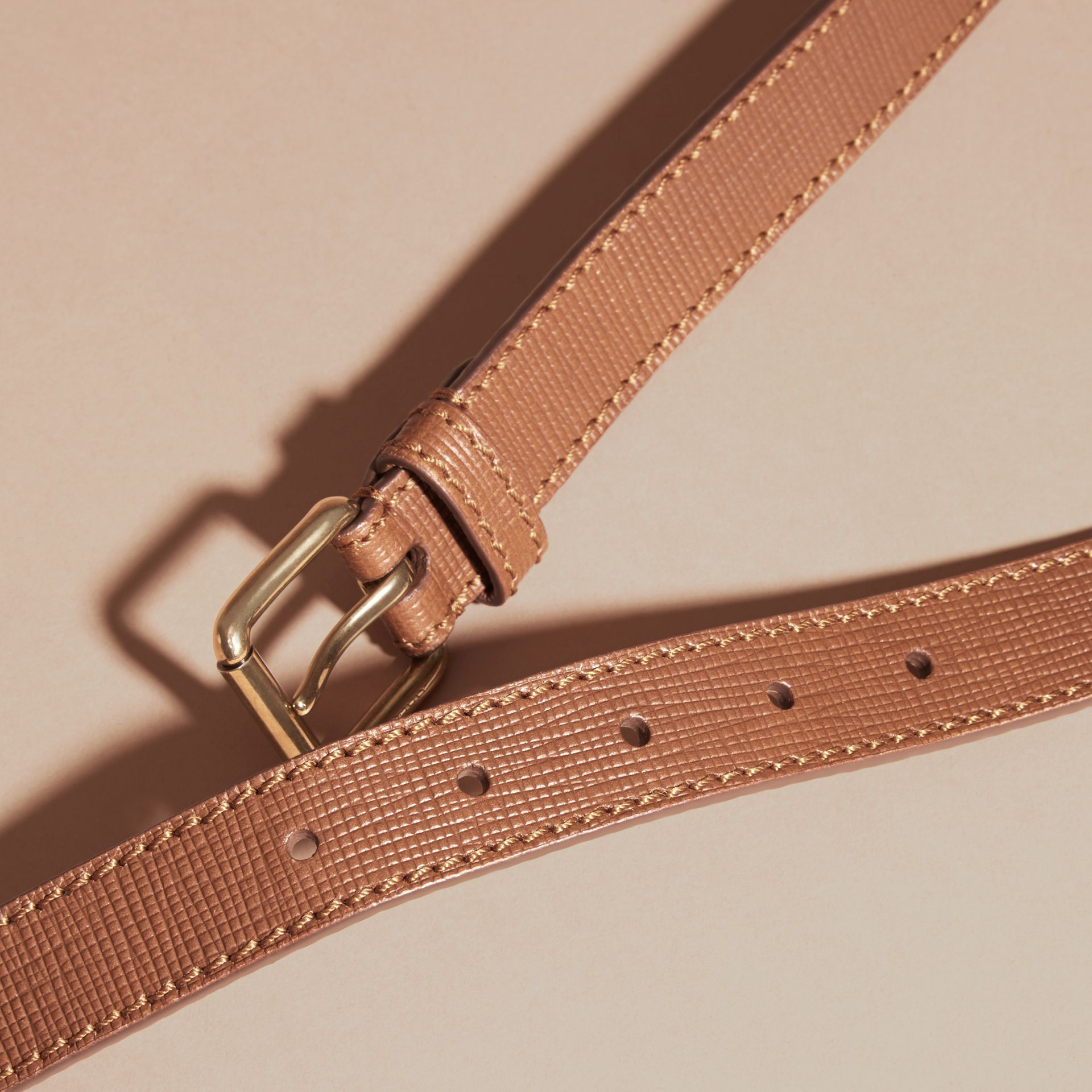 Dark tan Textured Leather Belt with Topstitch Detail Dark Tan - gallery image 3