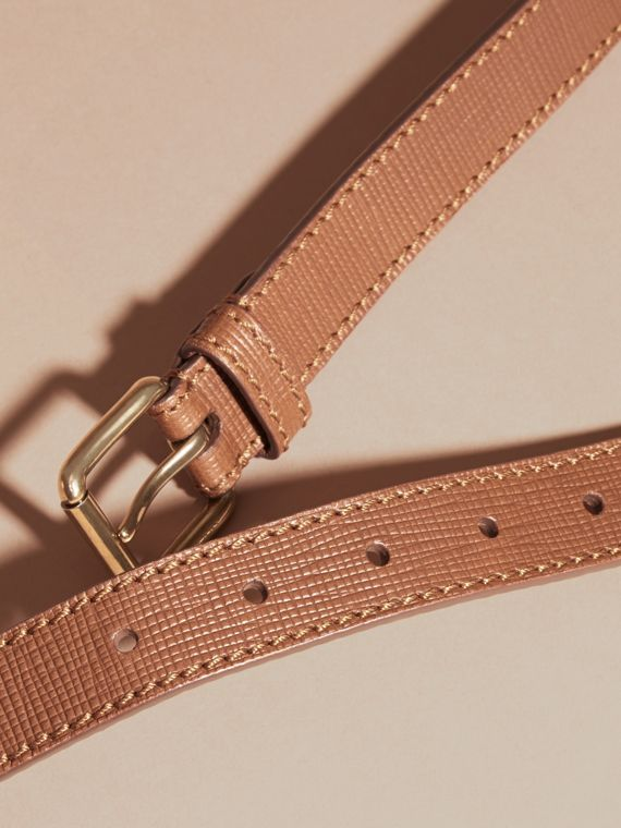 Dark tan Textured Leather Belt with Topstitch Detail Dark Tan - cell image 2
