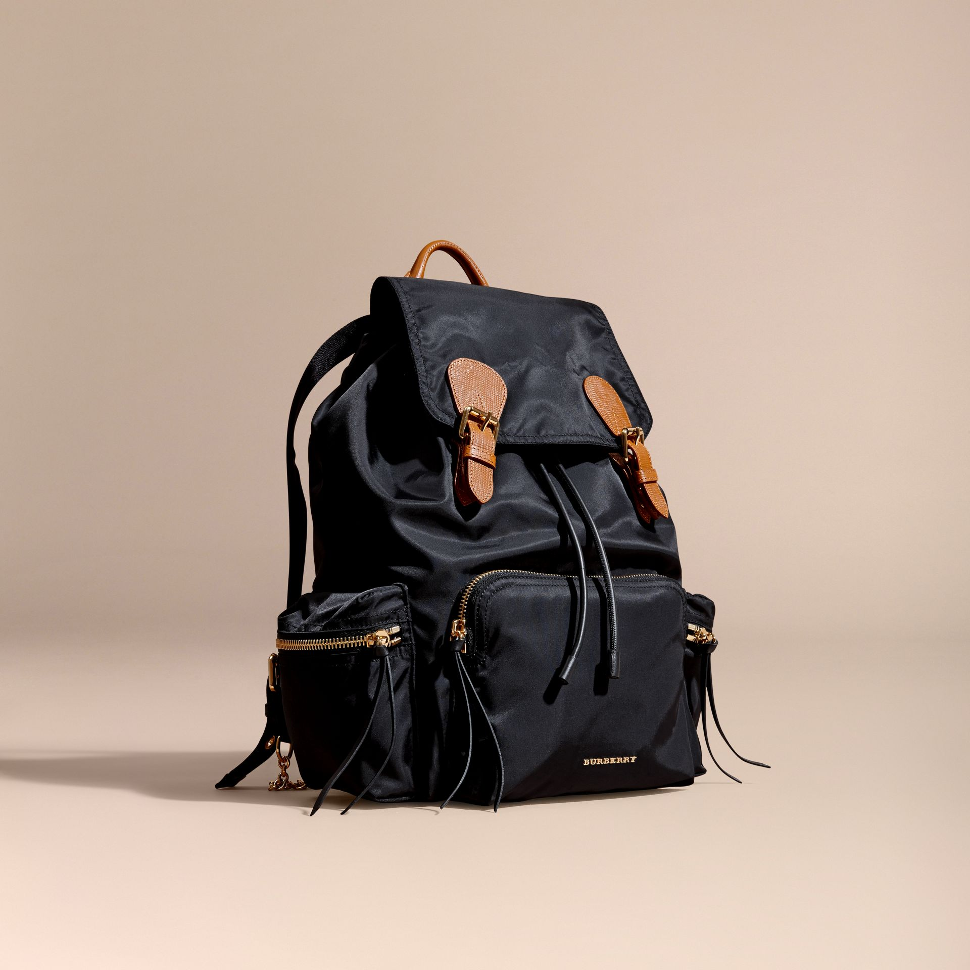 The Large Rucksack in Technical Nylon and Leather in Black - gallery image 1