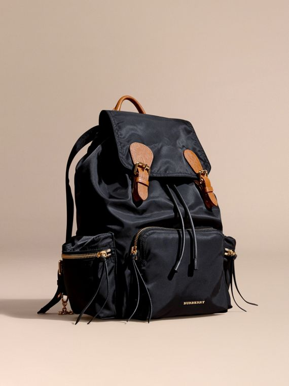 The Large Rucksack in Technical Nylon and Leather Black