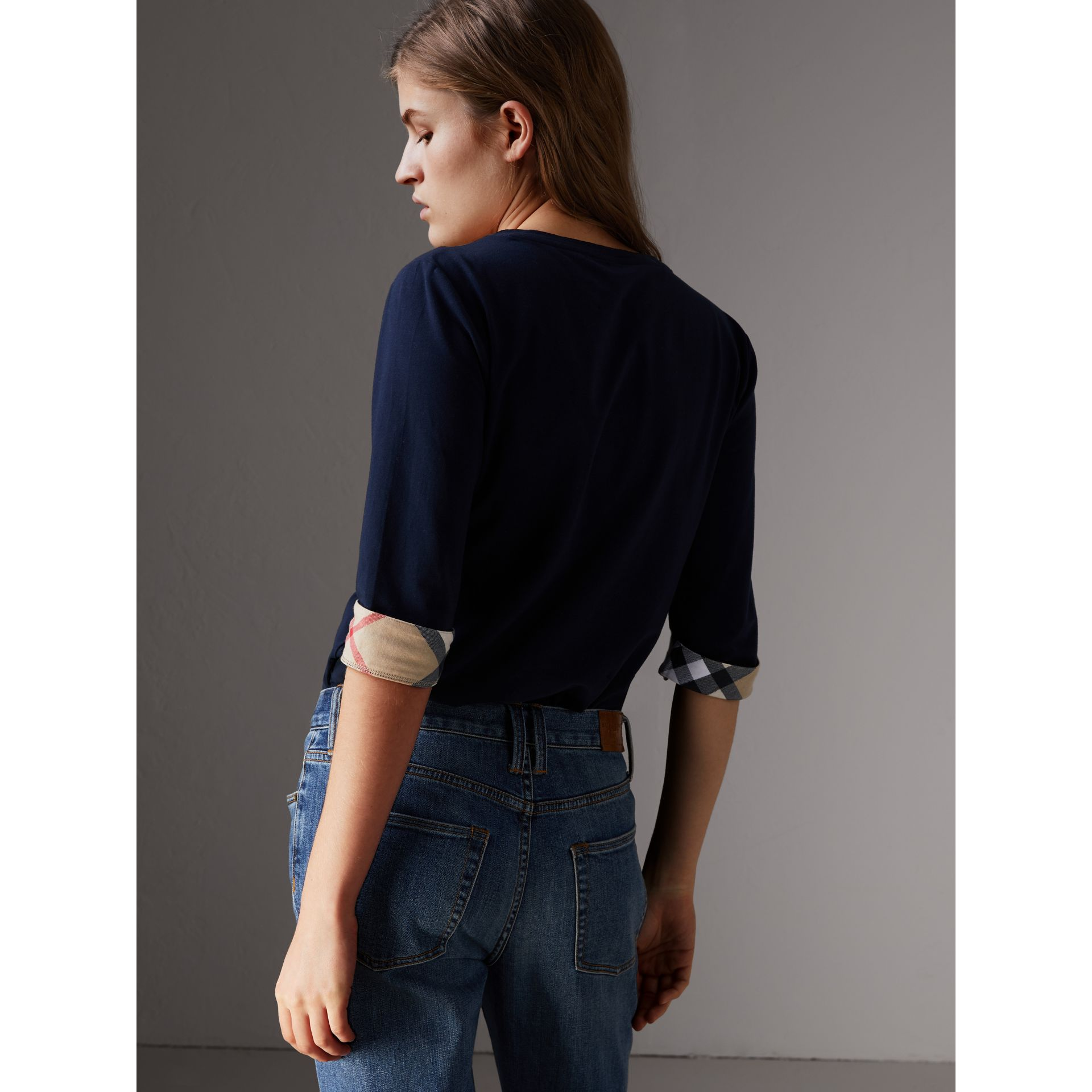 Check Cuff Stretch-Cotton Top in Navy - Women | Burberry - gallery image 2