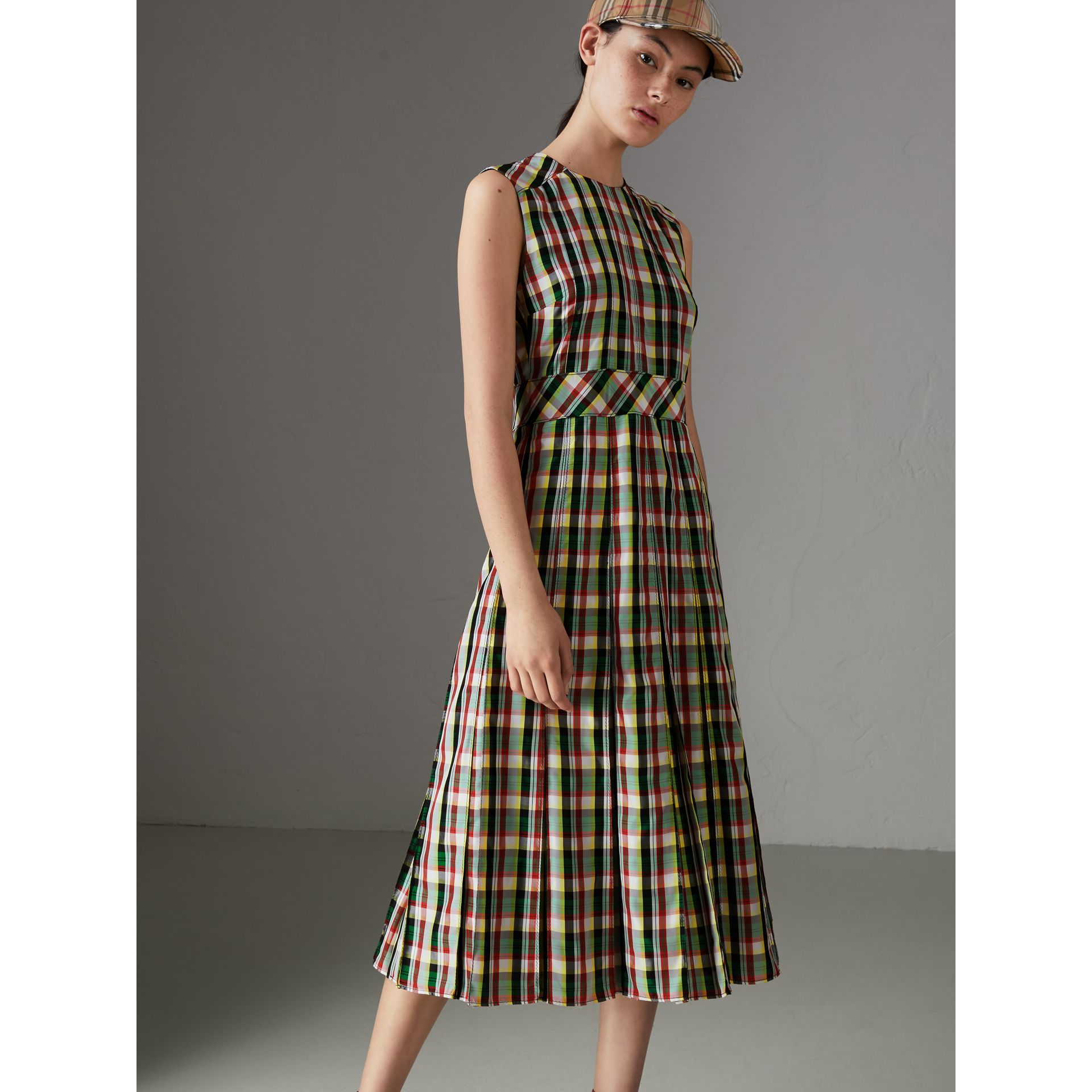 Sleeveless Pleat Detail Check Georgette Dress in Pine Green - Women | Burberry - gallery image 4