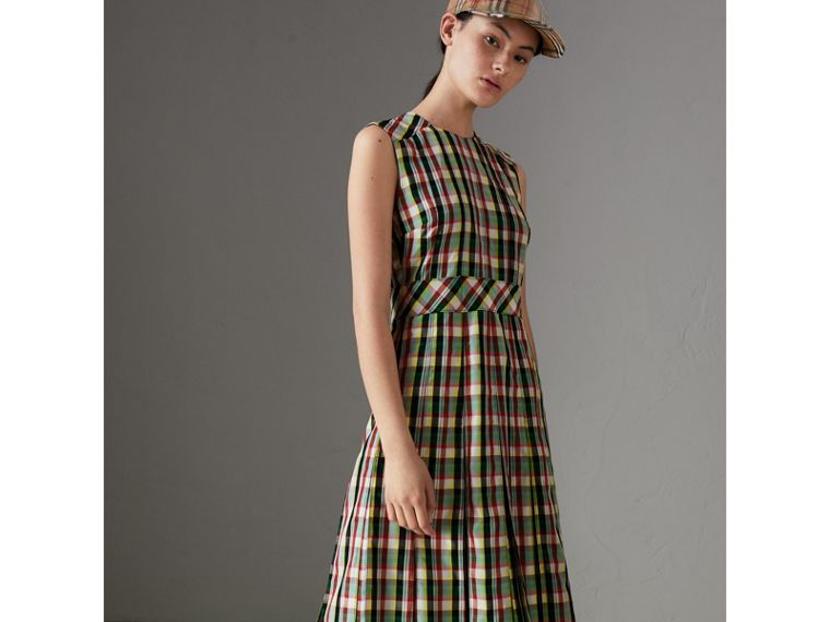 Sleeveless Pleat Detail Check Georgette Dress in Pine Green - Women | Burberry - cell image 4