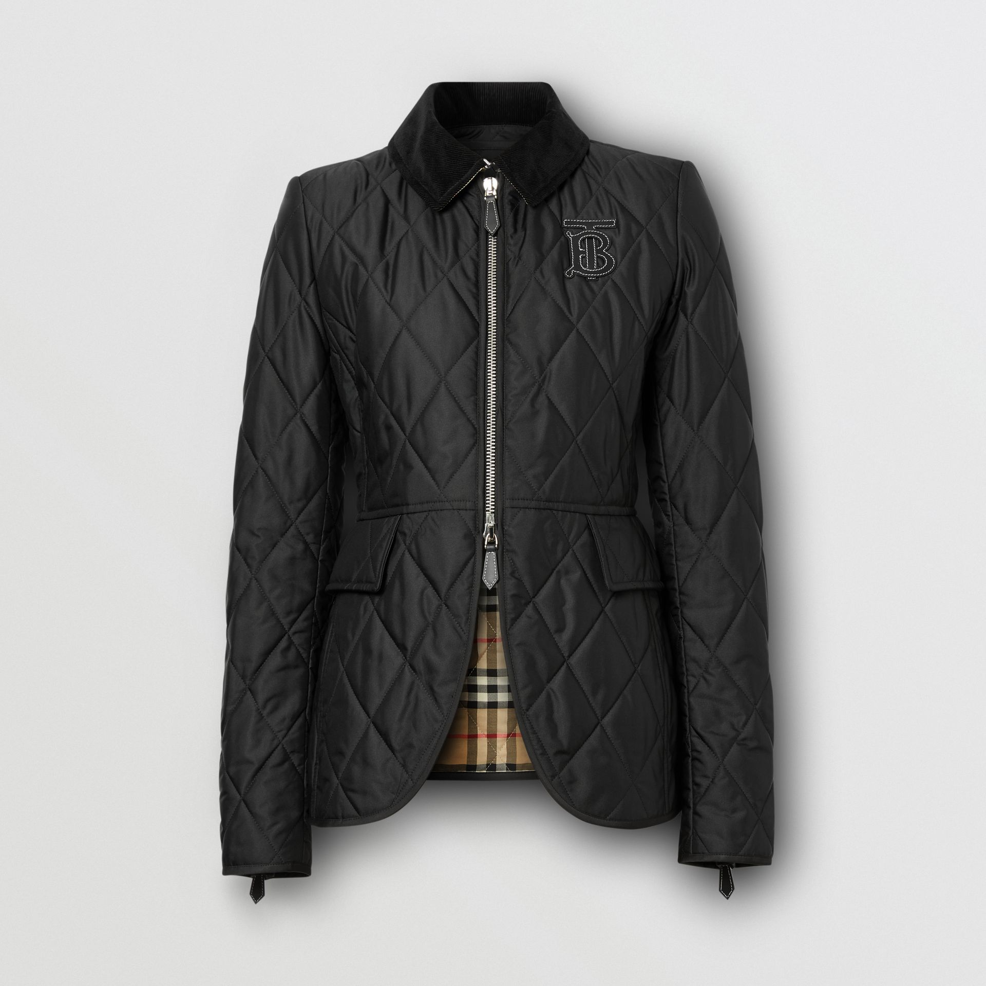 Monogram Motif Quilted Riding Jacket in Black - Women | Burberry - gallery image 3
