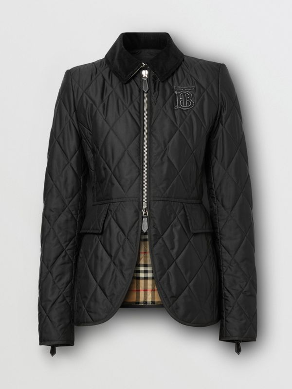 Monogram Motif Quilted Riding Jacket in Black - Women | Burberry - cell image 3
