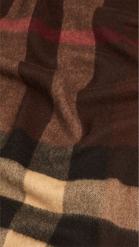 Dark chestnut brown check Giant Exploded Check Cashmere Scarf - Image 5