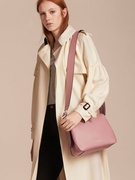 Buckle Detail Leather Crossbody Bag Dusty Pink - cell image 2