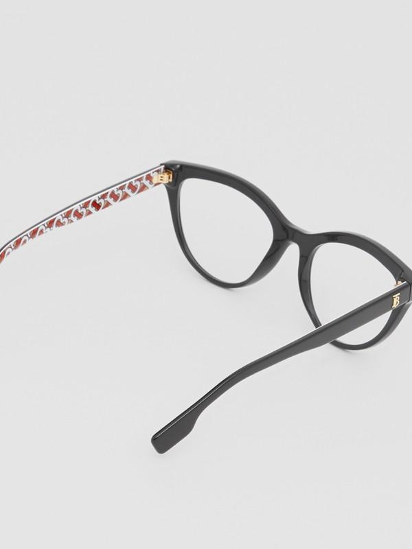 Monogram Print Detail Cat-eye Optical Frames in Black/vermilion - Women | Burberry Canada - cell image 3