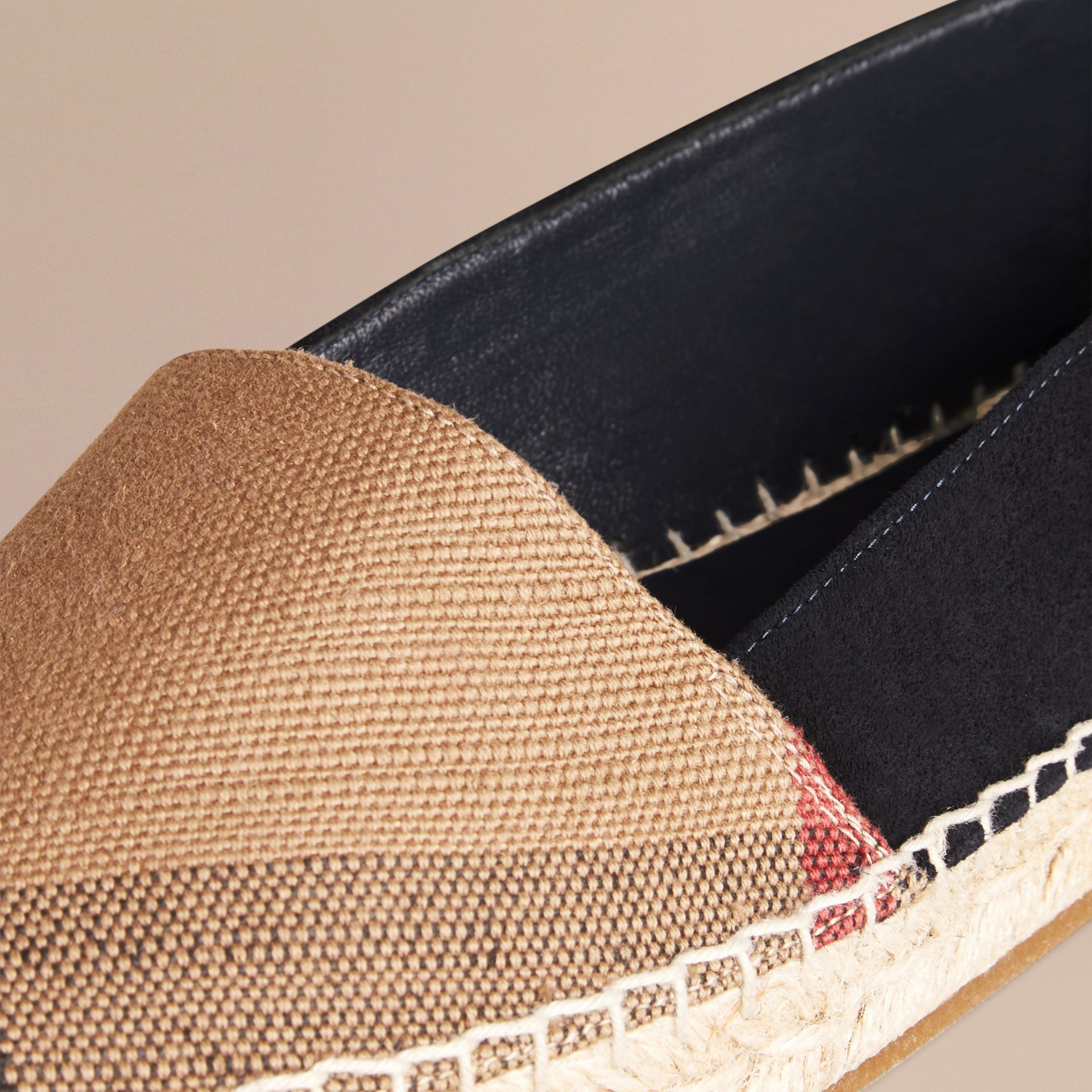 Navy Check Jute Cotton and Suede Espadrilles Navy - gallery image 2