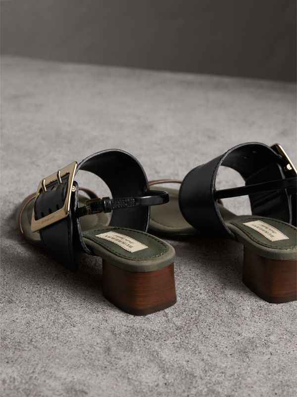 Buckle Detail Leather Mid-heel Sandals in Black - Women   Burberry United States - cell image 3