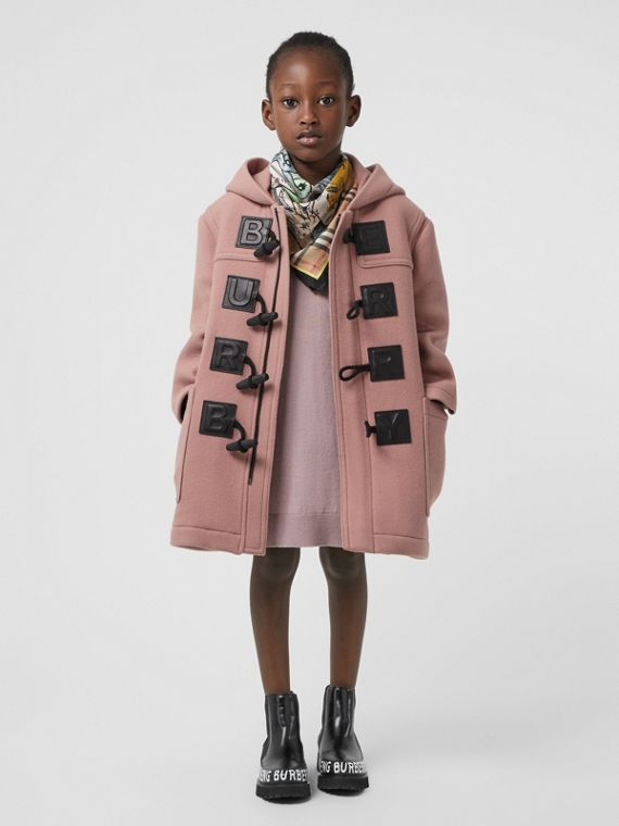 Logo Detail Wool Cashmere Blend Duffle Coat in Lavender Pink
