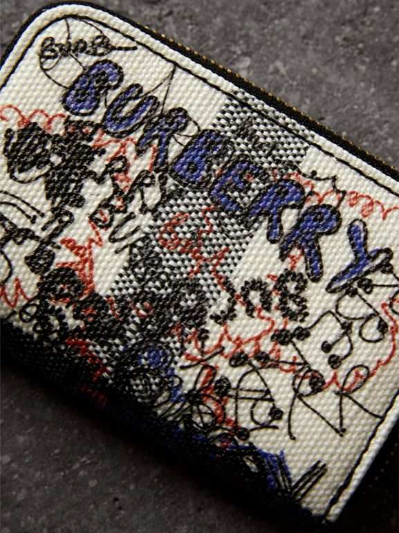Doodle Print Coated Canvas Check Ziparound Coin Case in White/black | Burberry - cell image 1