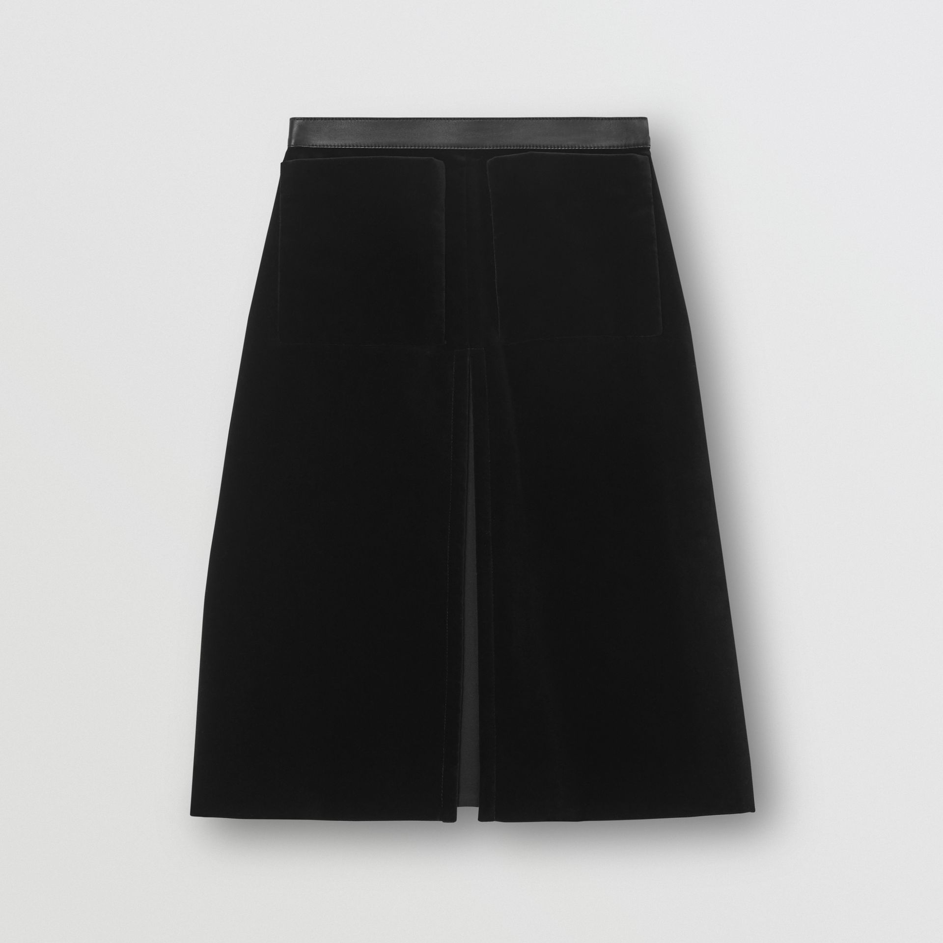 Lambskin Trim Box Pleat Detail Velvet and Wool Skirt in Black - Women | Burberry - gallery image 2