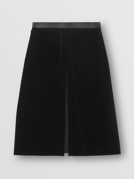 Lambskin Trim Box Pleat Detail Velvet and Wool Skirt in Black