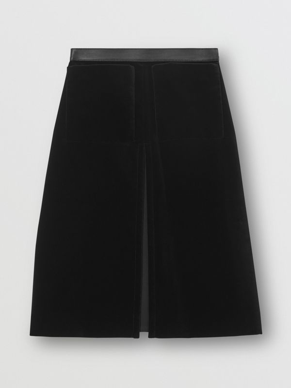 Lambskin Trim Box Pleat Detail Velvet and Wool Skirt in Black - Women | Burberry - cell image 2