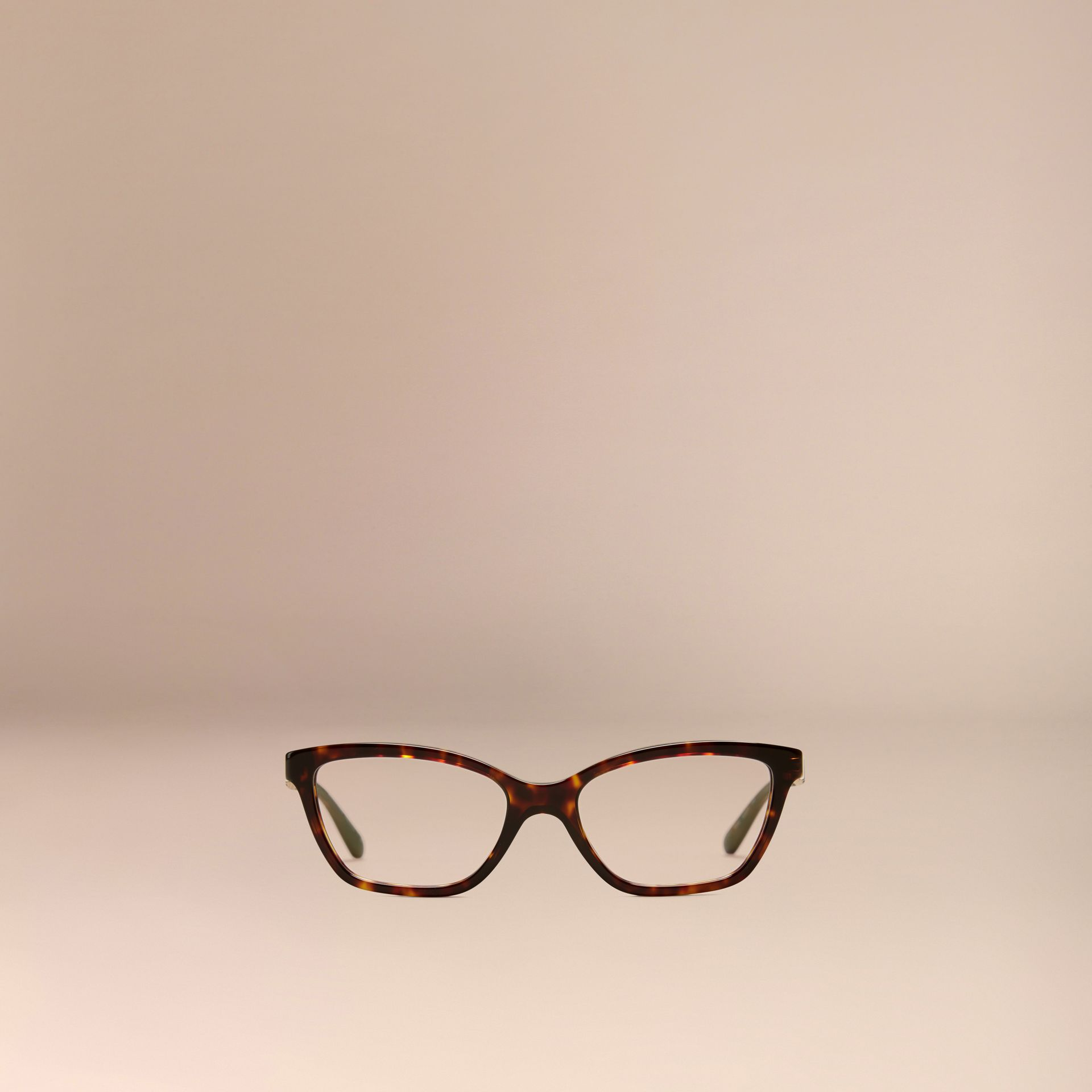 Tortoiseshell Check Detail Cat-eye Optical Frames Tortoiseshell - gallery image 2