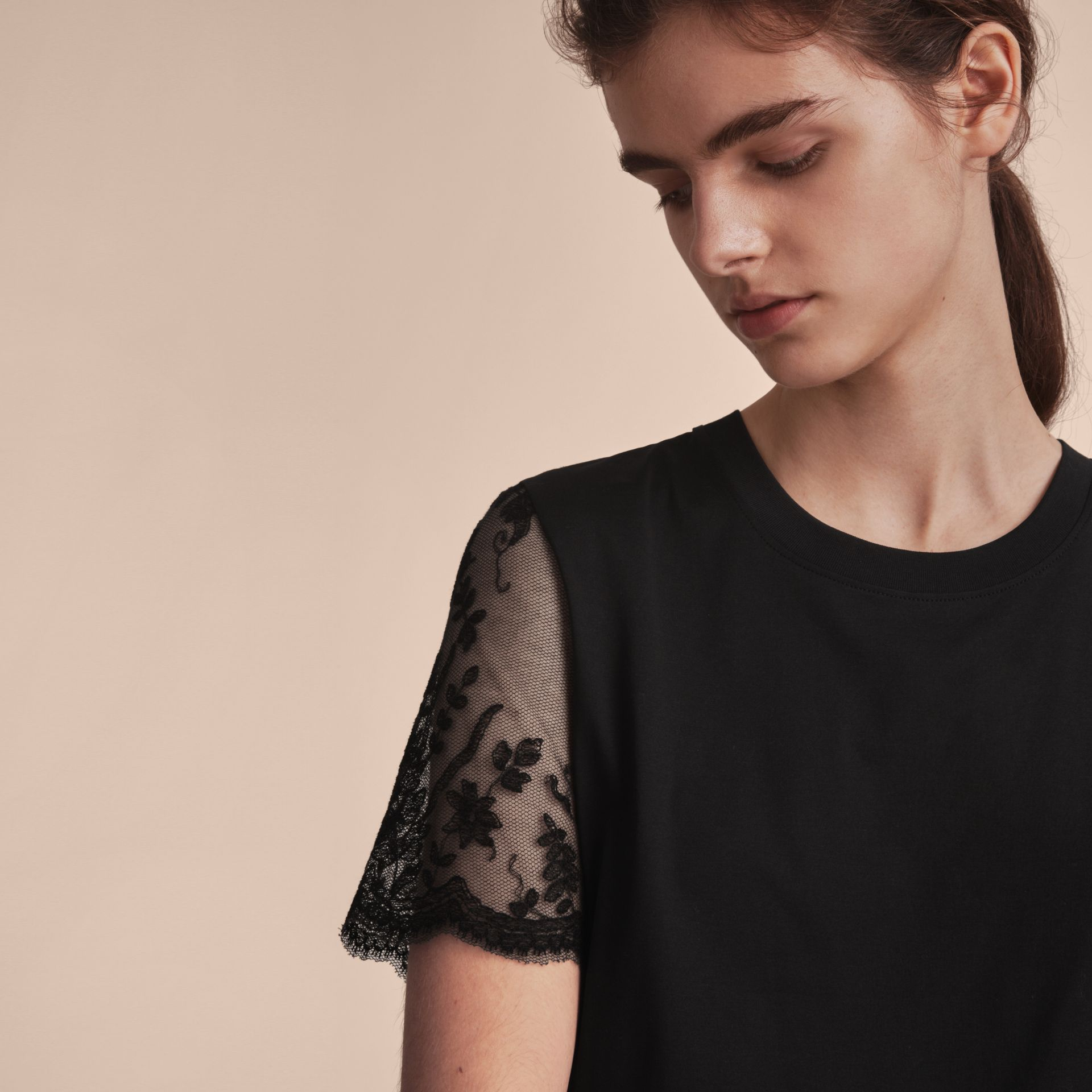 Cotton T-Shirt with Embroidered Tulle Sleeves - gallery image 5