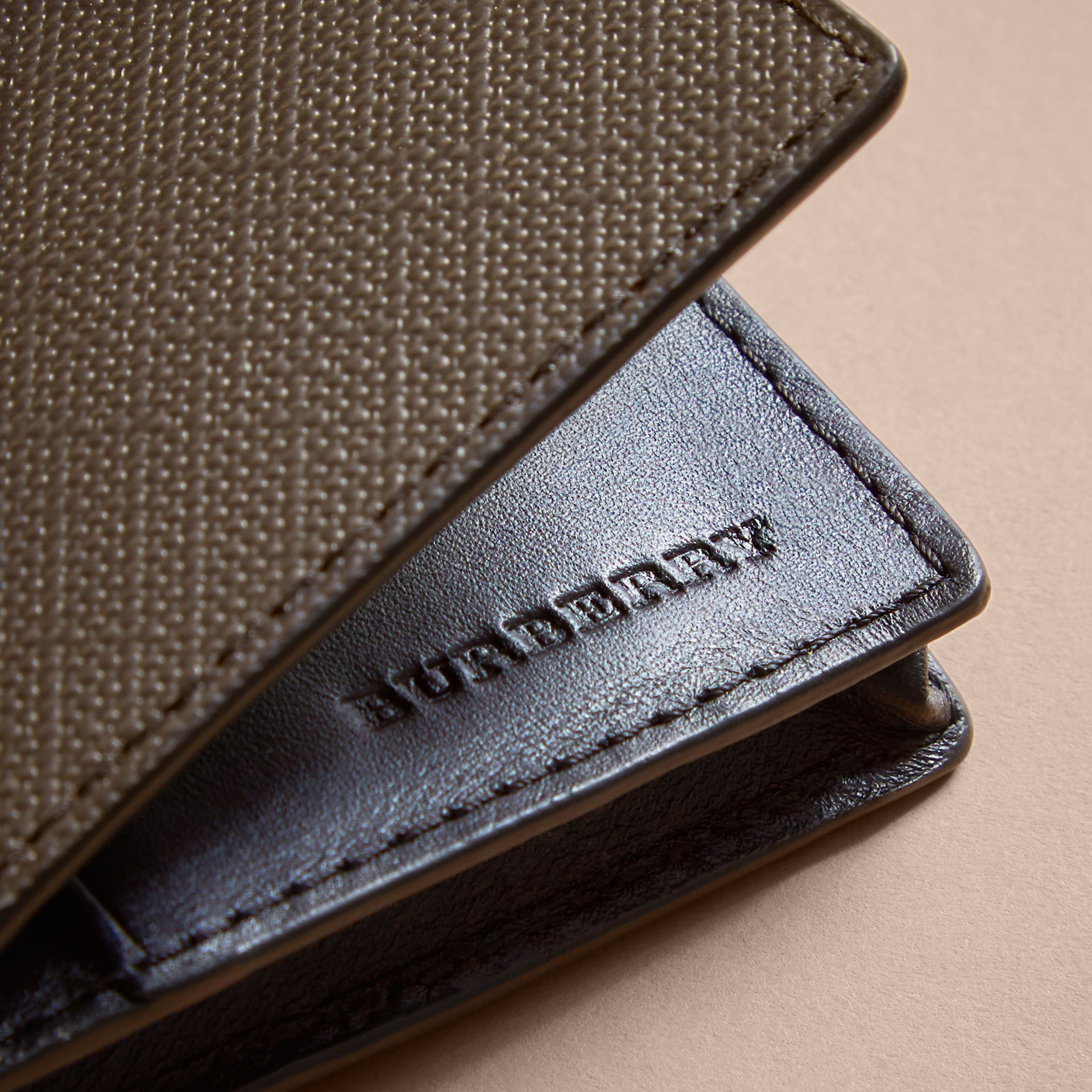 London Check and Leather Folding Card Case in Chocolate/black - Men | Burberry United Kingdom - gallery image 1