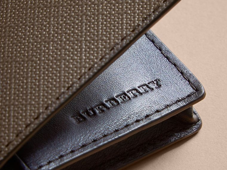 London Check and Leather Folding Card Case in Chocolate/black - Men | Burberry United Kingdom - cell image 1