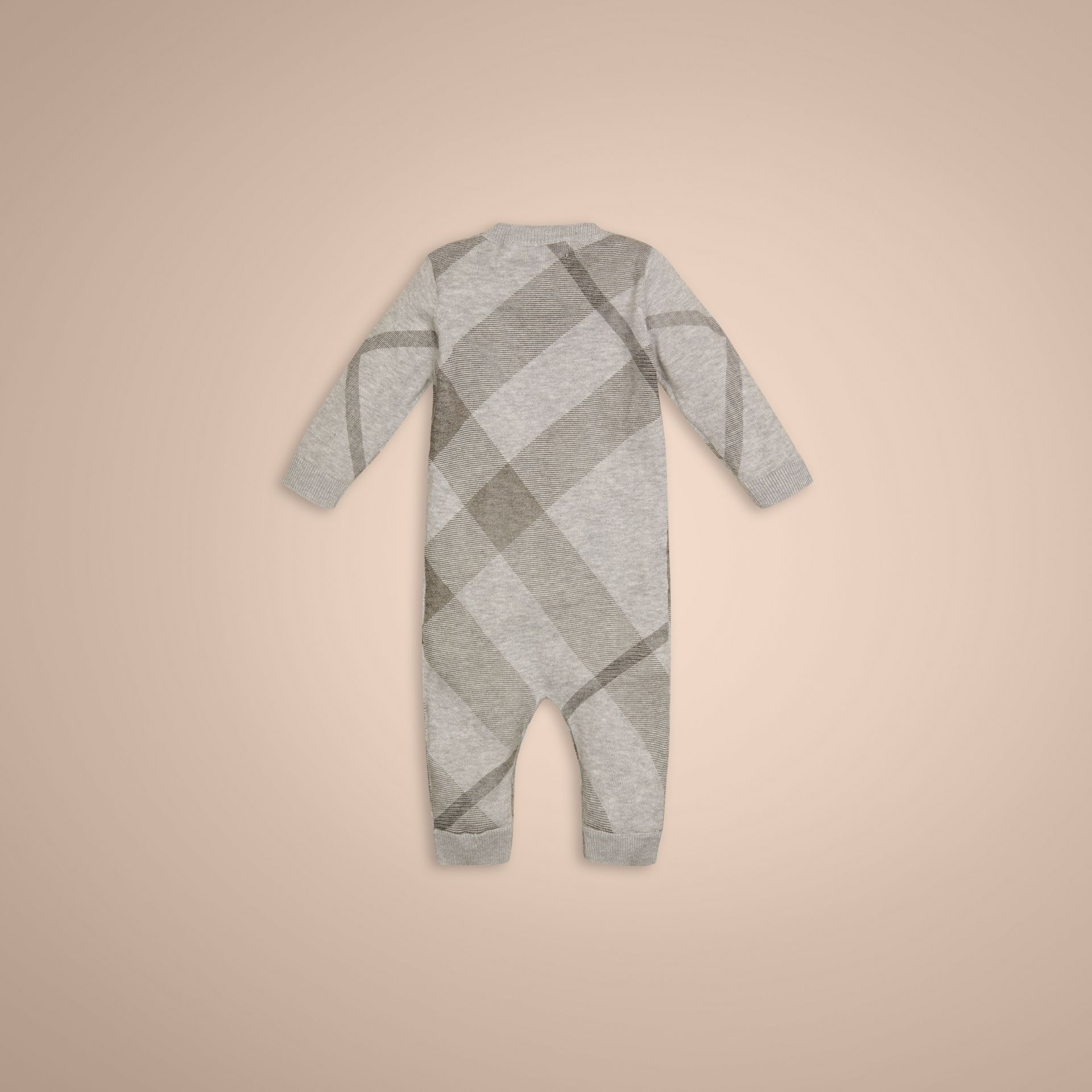 Pale grey melange Check Cashmere Cotton Jumpsuit - gallery image 3