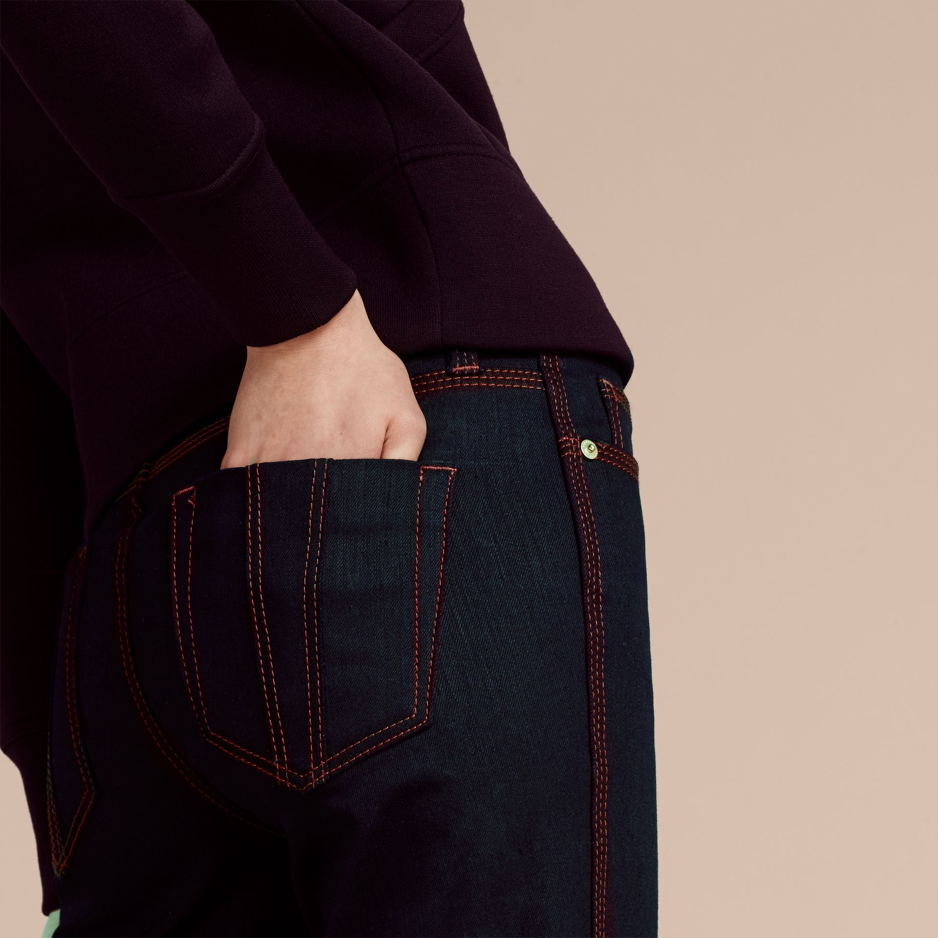 Indigo Flared Stretch Denim Jeans - gallery image 5