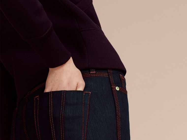Indigo Flared Stretch Denim Jeans - cell image 4