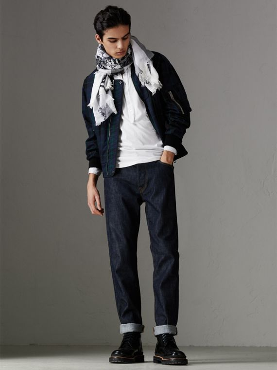 Doodle Print Check Silk Cotton Square Scarf in White/ink Blue | Burberry Singapore - cell image 3
