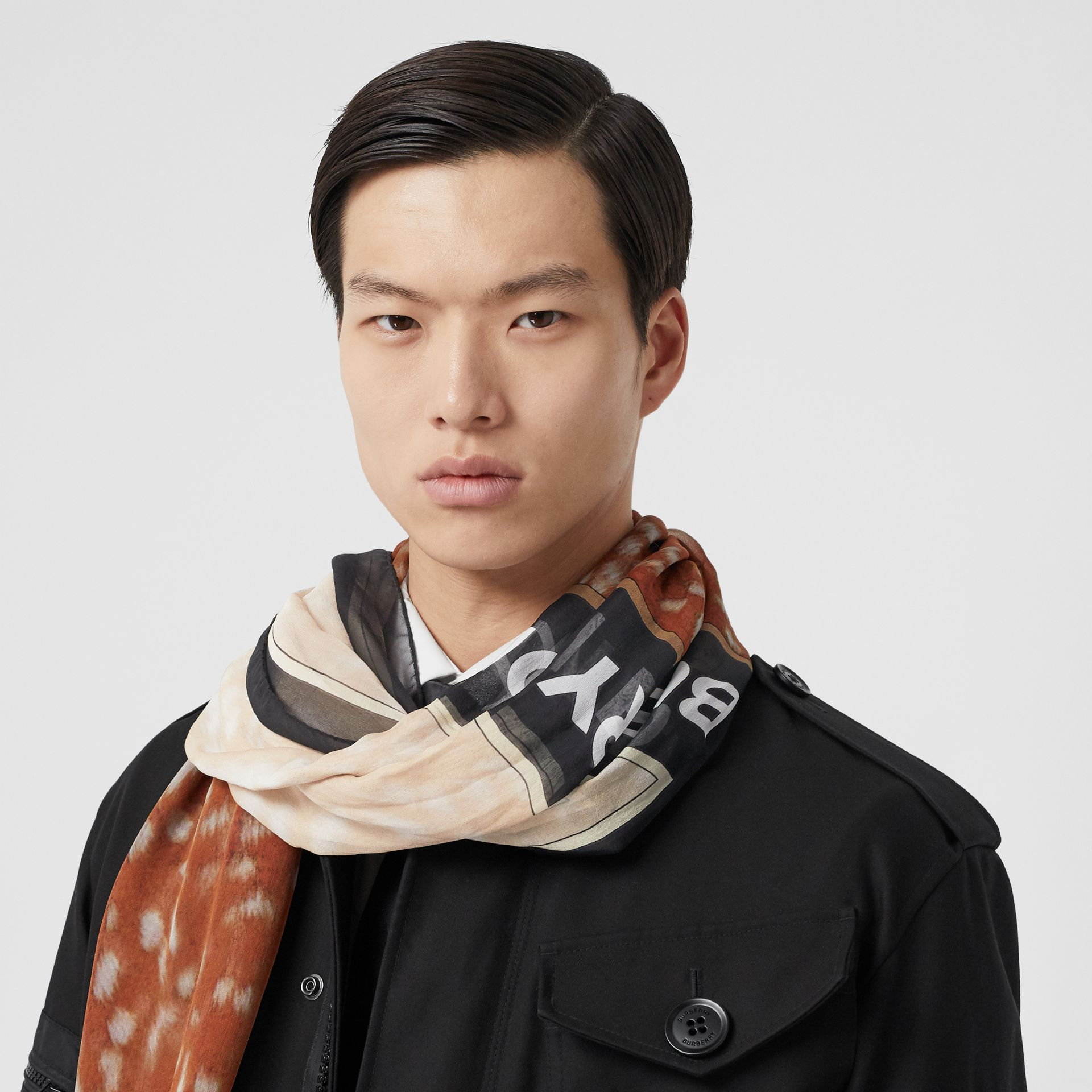 Contrast Deer Print Silk Scarf in Brown | Burberry Hong Kong S.A.R - gallery image 3