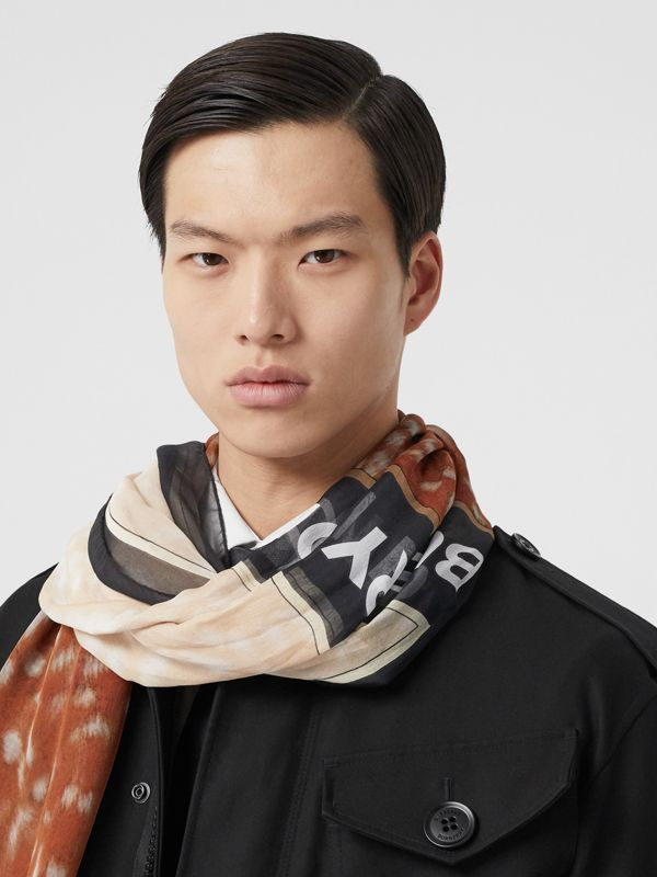 Contrast Deer Print Silk Scarf in Brown | Burberry - cell image 3