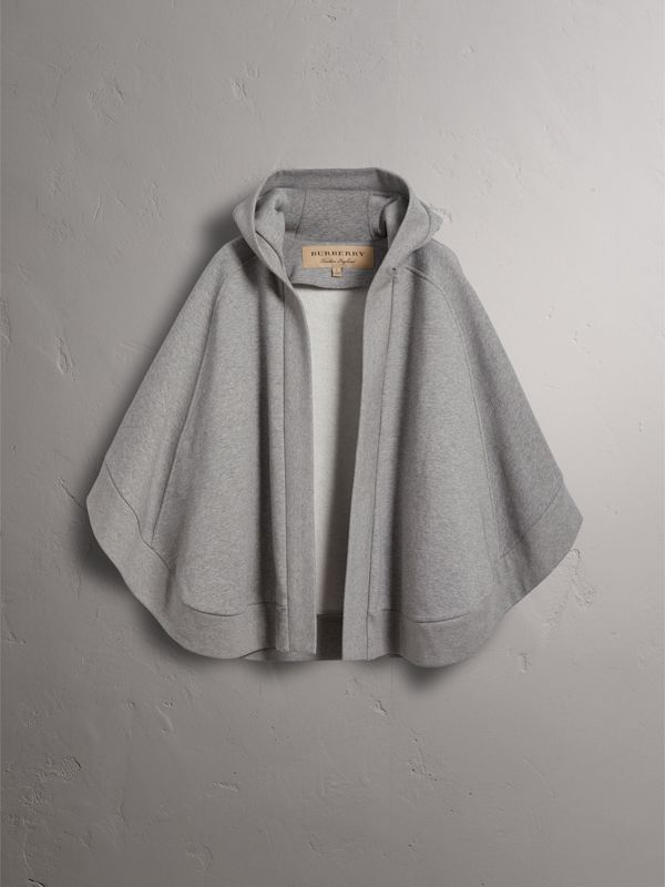 Embroidered Jersey Hooded Cape in Pale Grey Melange | Burberry - cell image 3