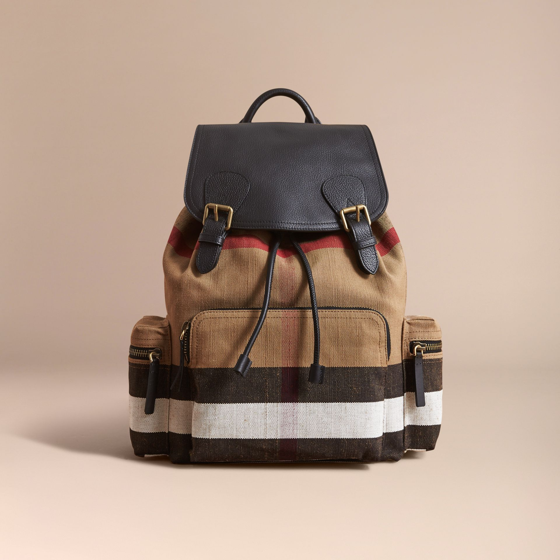 The Large Rucksack in Canvas Check and Leather Classic - gallery image 7