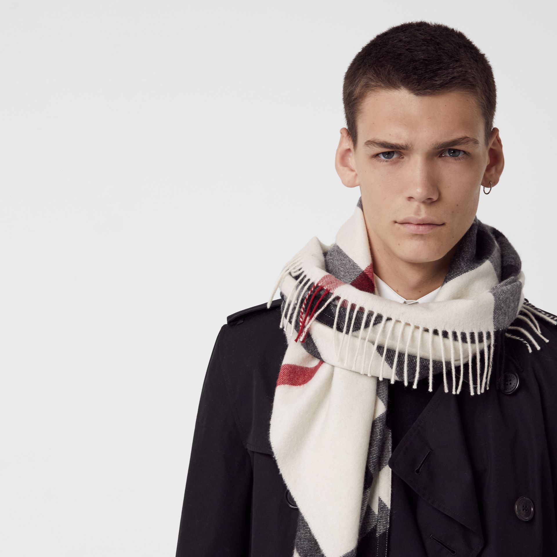 The Burberry Bandana in Check Cashmere in Natural White | Burberry United States - gallery image 6
