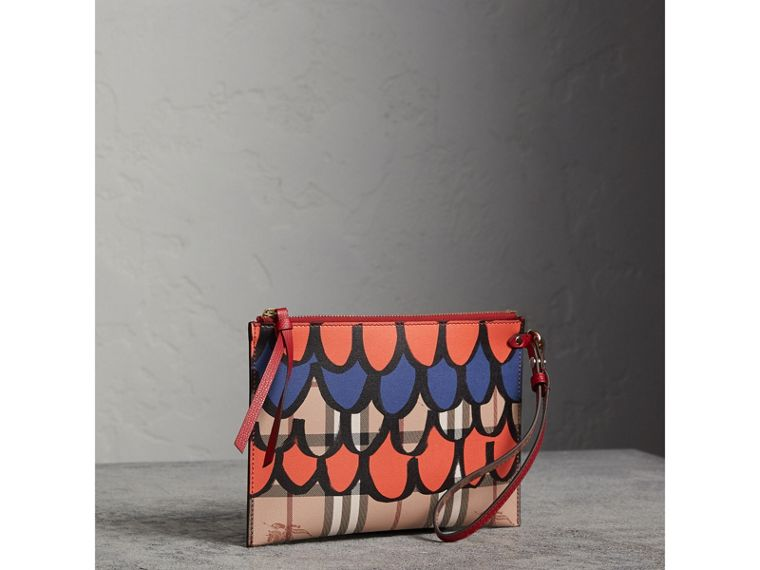 Scallop Print Haymarket Check and Leather Pouch in Poppy Red - Women | Burberry Canada - cell image 4