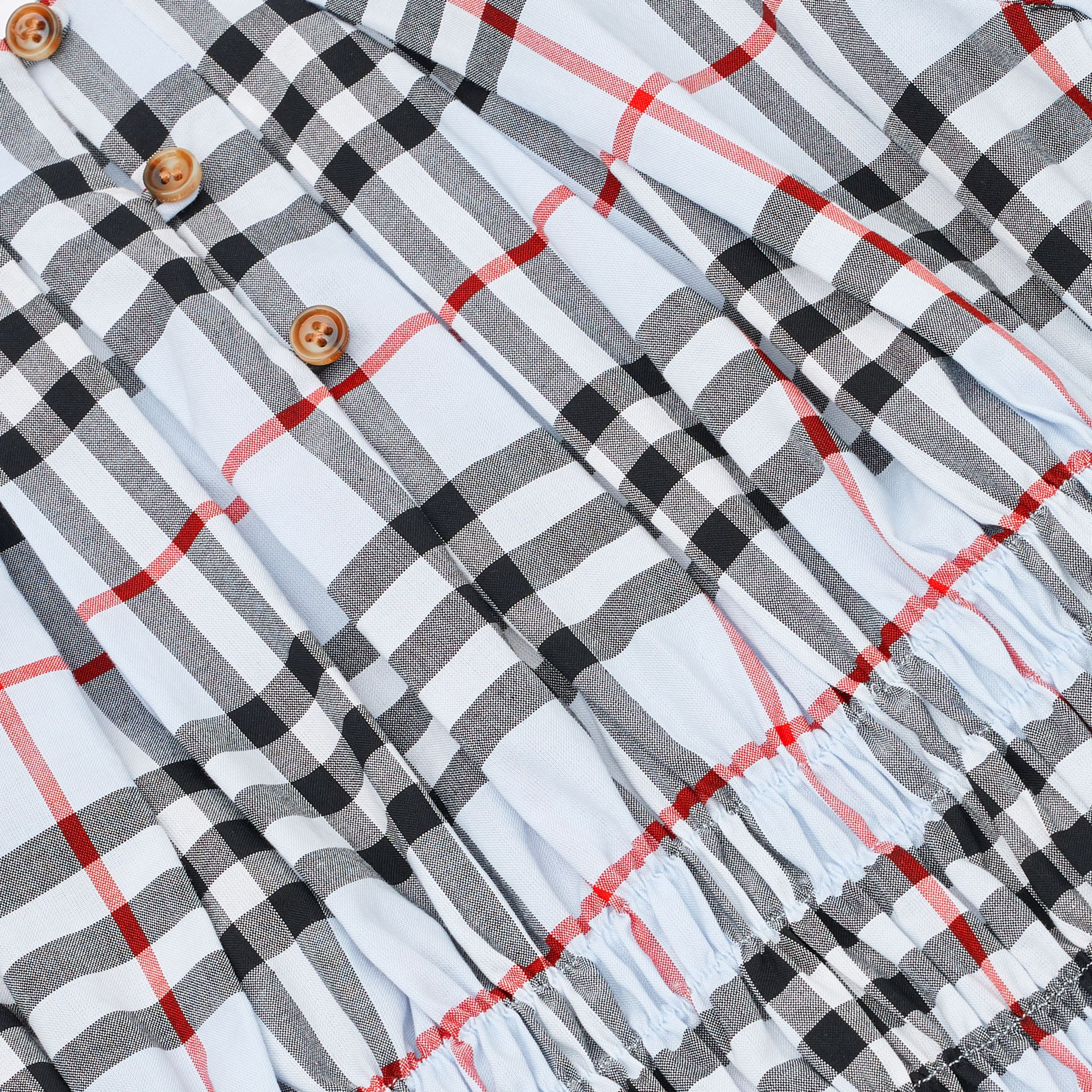 Ruched Panel Vintage Check Cotton Dress in Pale Blue   Burberry United Kingdom - gallery image 1