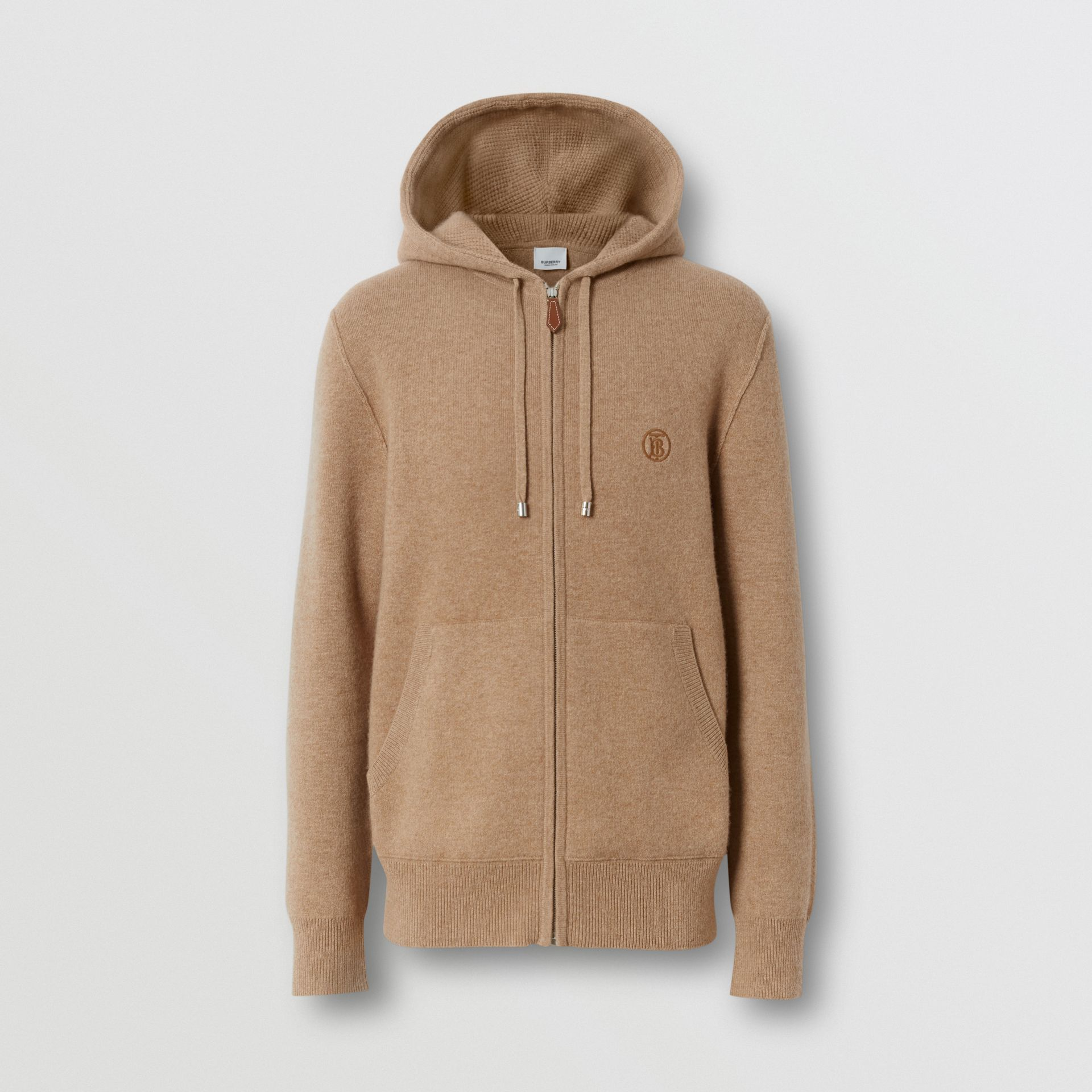 Monogram Motif Cashmere Blend Hooded Top in Pale Coffee - Men | Burberry - gallery image 3