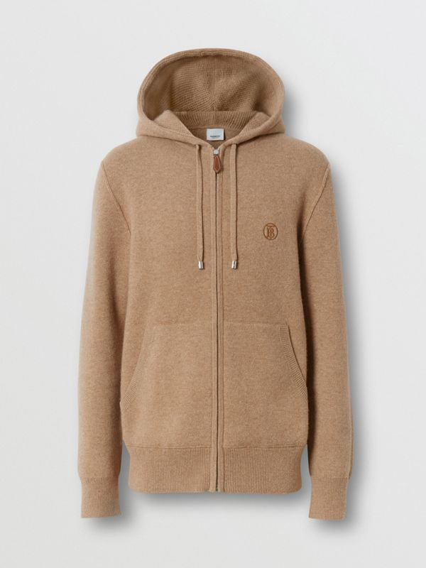 Monogram Motif Cashmere Blend Hooded Top in Pale Coffee - Men | Burberry - cell image 3
