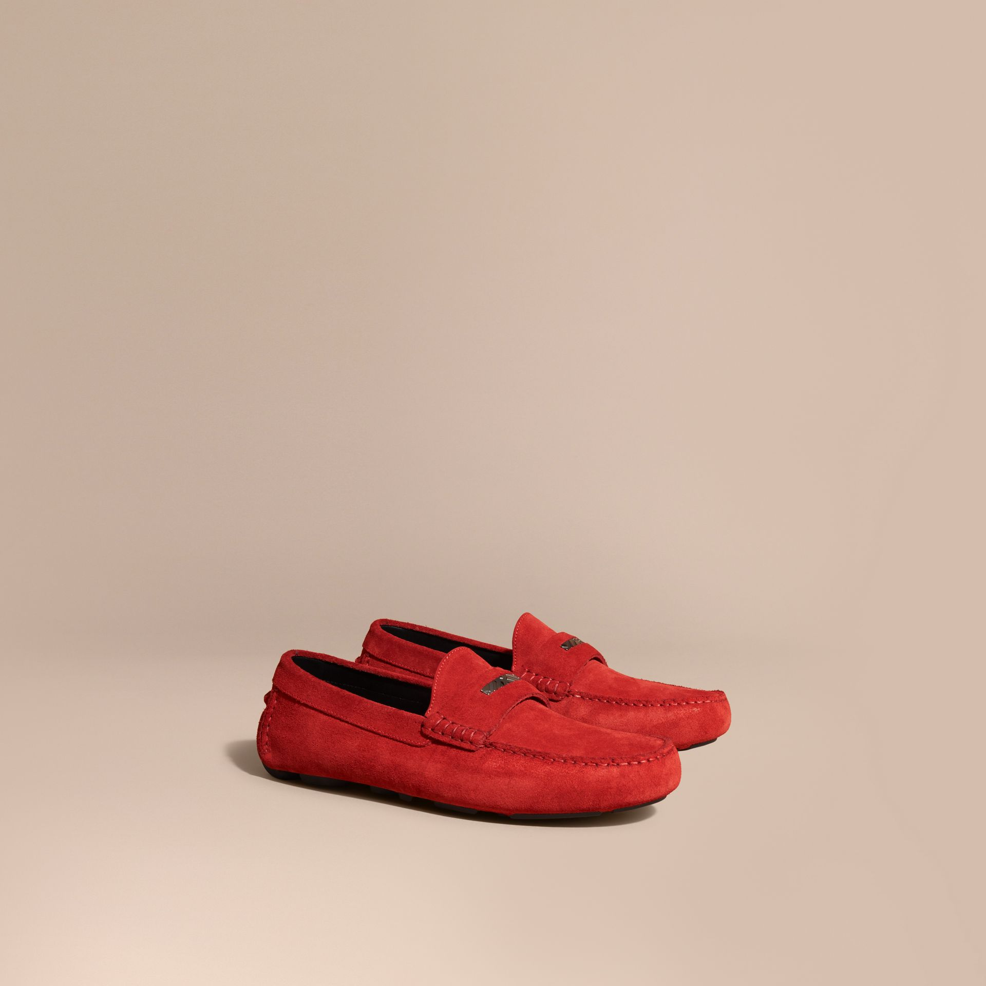 Bright rowenberry Suede Loafers with Engraved Check Detail Bright Rowenberry - gallery image 1
