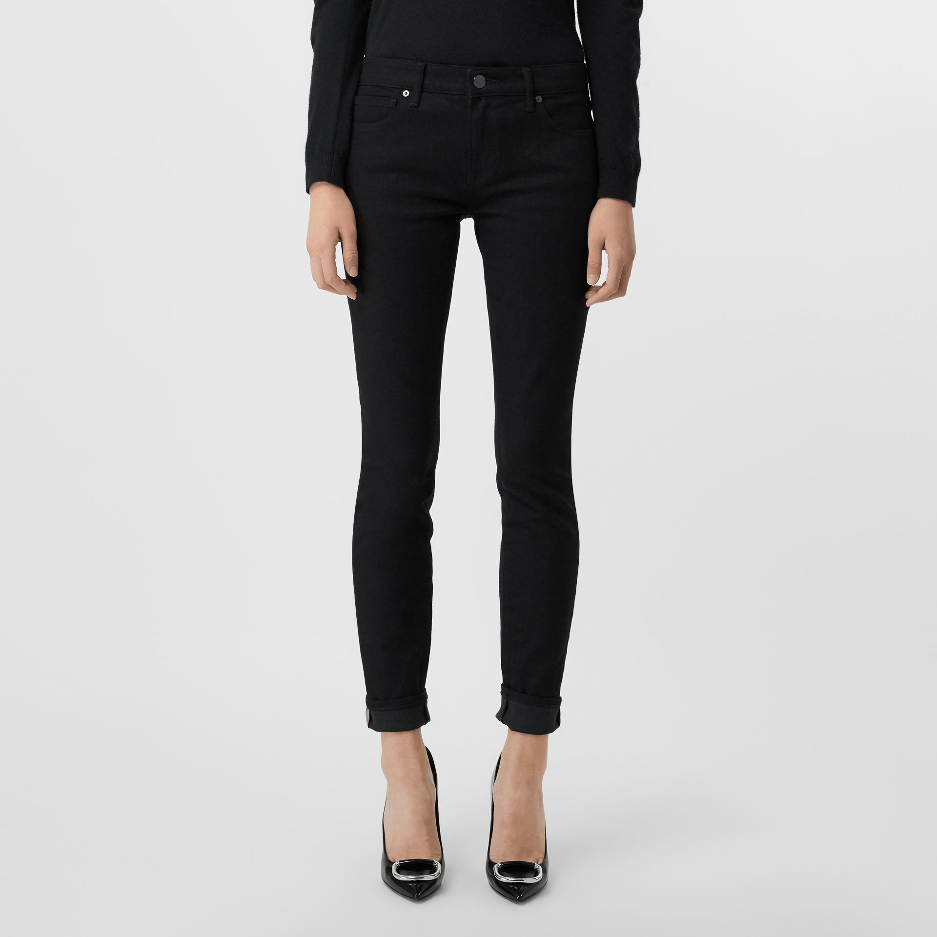 Check Detail Skinny Fit Japanese Denim Jeans in Black - Women | Burberry United Kingdom - gallery image 5