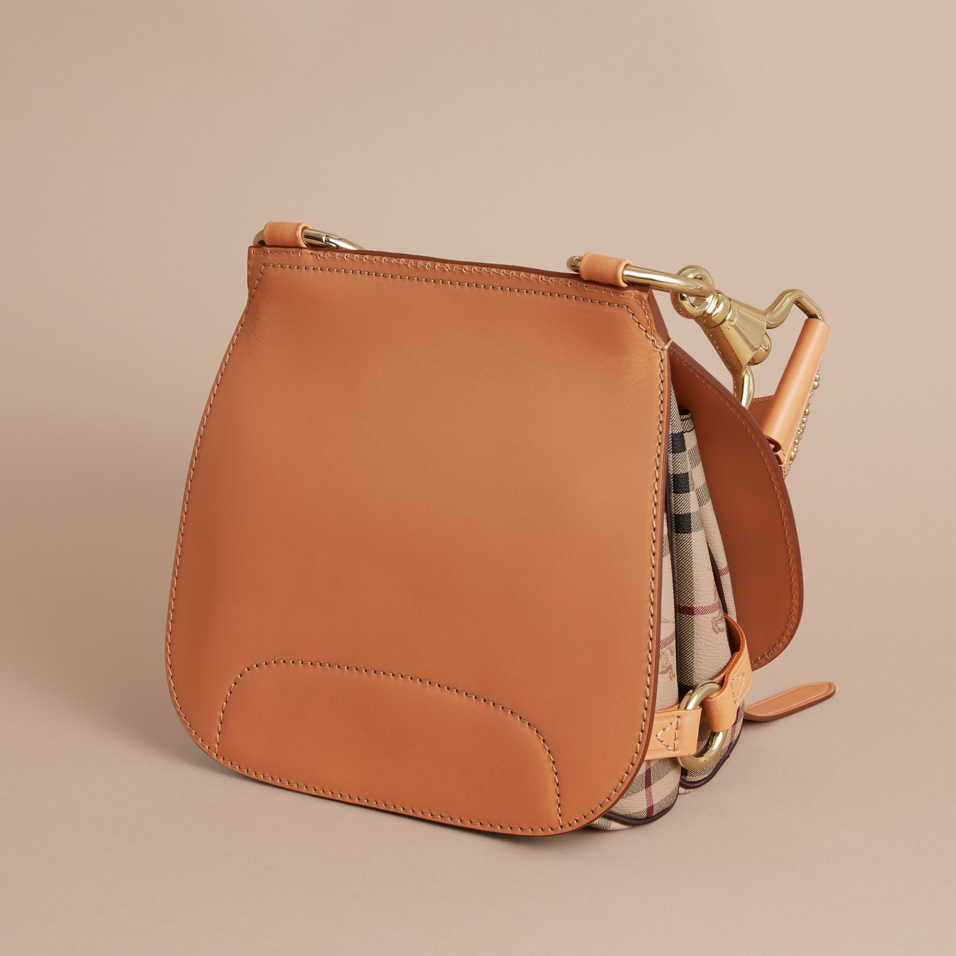The Bridle Bag in Fruit and Flowers Riveted Leather Pale Clementine - gallery image 4