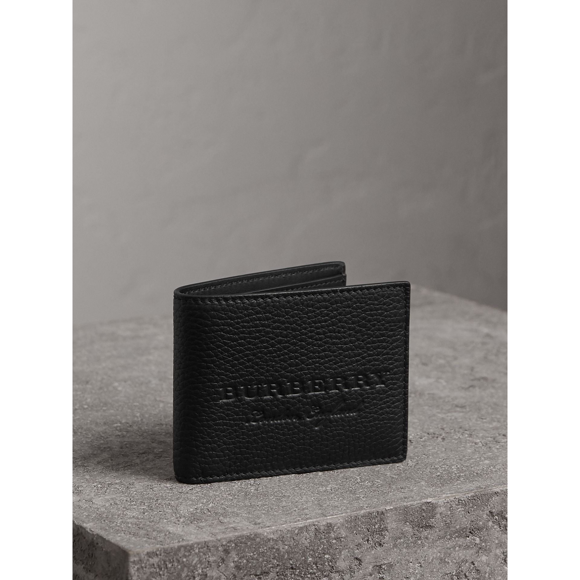 Textured Leather Bifold Wallet in Black - Men | Burberry United States - gallery image 0